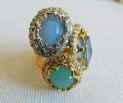 Awesome Vintage Alexis Bittar Gold Tone And 3 Color Stone Cocktail Ring Size 7.5