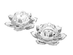 Shannon Crystal Godinger Lotus Crystal Votive Candle Holders Set Of 2 W/candles