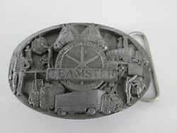 Teamsters Union Horses Belt Buckle Pewter Masterpiece Of America Usa Made Vtg