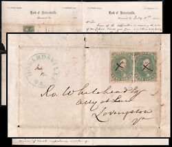 1862 Us Confederate Csa Howardsville Va Folded Letter Two 5c Green Stamps Cover