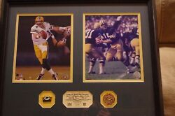 Bart Starr Brett Favre Green Bay Packers Vintage Limited Edition Print With Coa