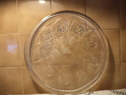 """Rare Pioneer Woman Adeline 14"""" Round Clear Embossed Serving Platter-new"""