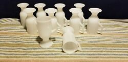 Lot Of 10 Federal Glass White Milk Pedestal Footed Irish Coffee Mugs D Handle