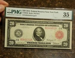 1914 20 Federal Reserve Note, Red Seal. Fr953b Pmg Choice Vf35