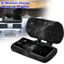 Car Qi Wireless Charger Hud Cell Phone Navigation Bracket Holder Head-up Display