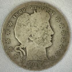 1909 O Silver Barber Quarter Circulated 25c Us Coin New Orleans Almost Good - Ag