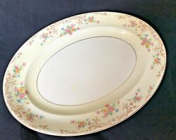 Steubenville Ivory China Floral Serving Platter 12 X 15 Oval Meat Plate Gold