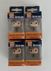Doctor Who - Pop Pocket Keychain - Tenth Doctor - Lot Of 4 - 10th Funko Bbc New