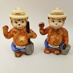 Rare Vintage Smokey The Bear Salt And Pepper Shakers Norcrest Japan