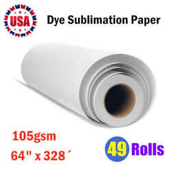 49rolls 105gsm 64x328andacute Dye Sublimation Paper For Heat Transfer Printing 3 Core