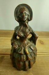 Vintage Brass Lady Figurine Bell W Lady Legs As Flapper/ringer Rare