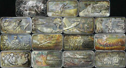 Lincoln Mint Wwii Battles 15pc. Sterling Bar Set Pacific And European Theater