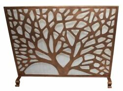 Fireplace Screen Rose Gold Abstract Tree Decor