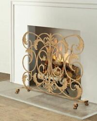 Fireplace Screen In Antique Gold Scroll