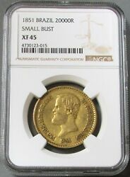 1851 Gold Brazil 20,000 Reis Small Bust Ngc Extra Fine 45