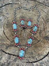 Navajo Sterling Kingman Turquoise Natural Red Coral Necklace Set Taos Collection