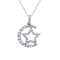0.33 Ct Diamond Moon And Star Pendant With 18 Cha14k White Gold