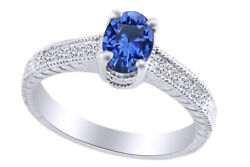 1.23 Ct Oval Cut Blue Sapphire And Diamond 14k White Gold Engagement Ring