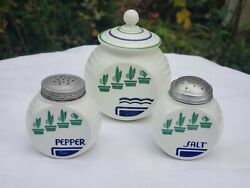 Vintage Kitchen Set Canister With Salt And Pepper Matching Blue Green Retro