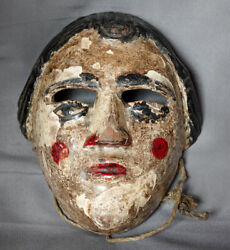 Antique Hand Carved Patrona Traditional Wooden Dance Mask Nahuala, Guatemala