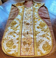 Antique French Silk And Metallic Hand Made Vestment Ww242