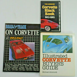 Lot Of 3 Chevrolet Corvette Books Road And Track / Black Book / Illustrated