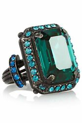 Lanvin Gunmetal Tone Brass Green And Blue Crystal Ring Size 53 M Rare