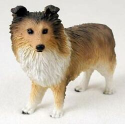 Sheltie Sable Dog Figurine Statue Hand Painted Resin Gift Pet Lovers
