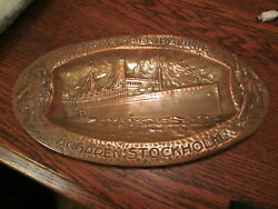 C.1925 Copper Souvenir Tray From The Swedish American Steamship Line