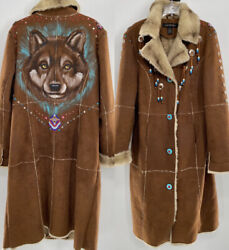 Rare Lane Bryant Brown Suede Like Coat Wolf Print Womens Size 14/16