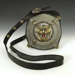 Contemporary Lou Guerin Crossbody Lion Bag Leather Chagrin Coral Opal Tiger Eye