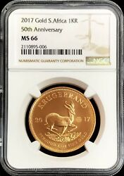 2017 Gold South Africa 1 Oz Krugerrand 50th Anniversary Privy Ngc Mint State 66