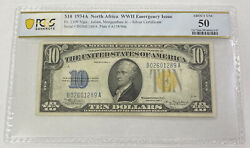 1934a 10 North Africa Wwii Emergency Issue Silver Cert. Fr. 2309 Pcgs Unc50