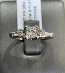 0.80ct Natural Diamond Engagement Ring With 0.50ct Princess Cut In Center Plat