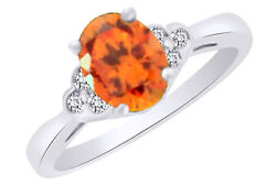Igi Certified 0.12 Ct Oval Shape Yellow Sapphire 14k White Gold Engagement Ring