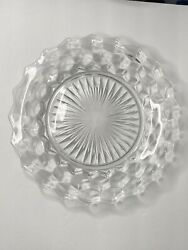 American Fostoria 8 1/2 Salad Lunch Plates Clear Large Center Lot Of 4