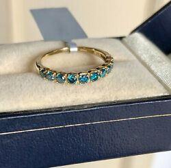 1/2ct Genuine Blue Diamond Ring Yellow Gold Size N 1/2 'certified' Fab Colour
