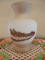 Fenton Vintage Budweiser Clydesdale Horses With Wagon Vase 2nd Series Rare