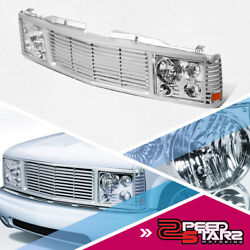 Front Grille + Headlights Assembly For 1994-2000 Gmc Chevy C/k Pickup Suburban