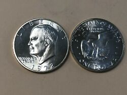 1972 S Unc Brilliant Uncirculated Silver 40 Eisenhower Ike Dollar. Nice Coin