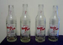 Lot Of Four Hazel Club Sparkling Beverage Bottles 7 Oz Clear Glass Acl