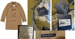 Double Breasted Solid Trench Raincoat Khaki Tan Water Repellant Nwt