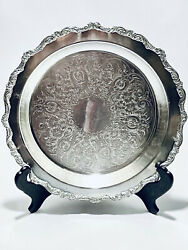 Marvelous Antique Victorian Style Epca By Poole Footed Round Silver Plated Tray