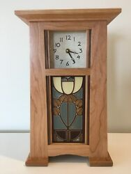 Arts And Crafts Clock Natural Cherry, Motawi Painted Tile,craftsman Clock