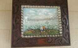 Antique Maritime Hand Made Diorama What Are The Wild Wave Saying Sister Dear