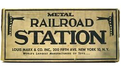 Vintage Marx Railroad Station Tinplate O Scale Trains Tin Playset Mint With Box