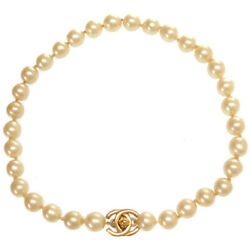 Authentic Cc Mark Turn Rock Faux Pearl Necklace 0095