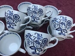 Vintage J Andg Meakin England Classic White Blue Nordic Set Of 14 Cups