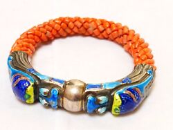 Chinese Antique Sterling Silver Enamel Coral Bangle