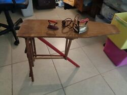 Antique Wooden Ironing Board Folding Mid-century Plus 2 Lady Dover Irons Usa